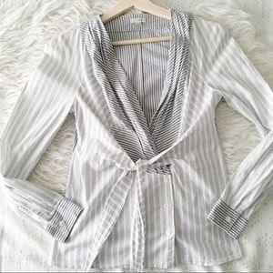 Tie Front Pinstripe Blouse // Anthropologie